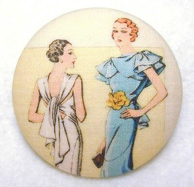 Fashion Fabric Button 1 /& 1//2 in  FT38 1920s Four Ladies FREE US SHIPPING