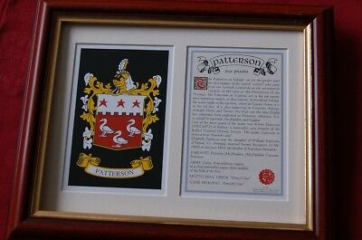 Patterson Framed Heraldic Coat of Arms Crest + History