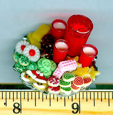 Dollhouse MINIATURE Size Tray of Christmas Cookies & Pitcher & Glasses of Milk