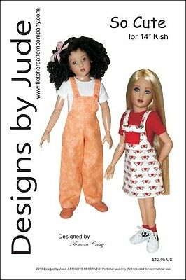 "So Cute Overall & Skirtall Doll Clothes Sewing Pattern 14"" Kish Dolls"