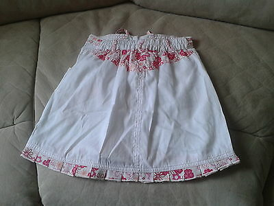 Girls 3-4 Years - White Skirt with Pink Floral Trim & Embroidery