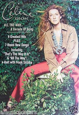 """CELINE DION """"ALL THE WAY"""" AUSTRALIAN PROMO POSTER - Contemporary Pop Rock Music"""
