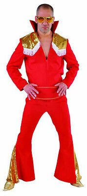 Deluxe  RED Elvis Presley  Glam Rock Stage suit - 3 piece with gold sequin trim