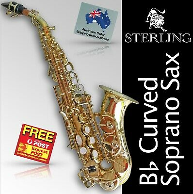 24K GOLD-Plated Curved SOPRANO SAX • Brand New • Bb Saxophone • With Case •