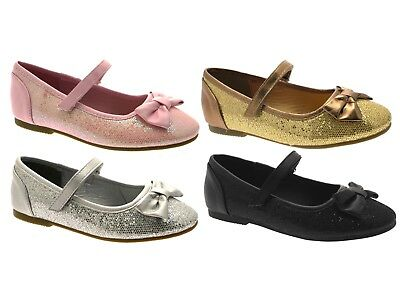 Girls Kids Childrens Glitter Ballet Pumps Party Wedding Mary Jane Shoes Size 6-1