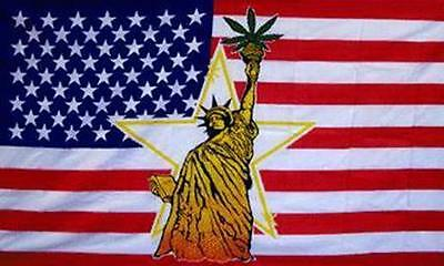 STATUE OF LIBERTY USA POT LEAF 3 X 5 FLAG  3x5 advertizing flags FL448 american