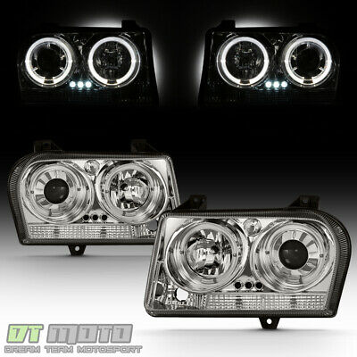 05-08 CHRYSLER 300 DUAL HALO PROJECTOR LED HEADLIGHTS LIGHTS LAMPS LEFT+RIGHT