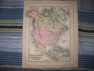 Antique 1894 North America Mitchell Map United States West Indies Canada Mexico