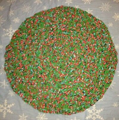 Handmade Multi Colored round Rag Rug 30 inches across