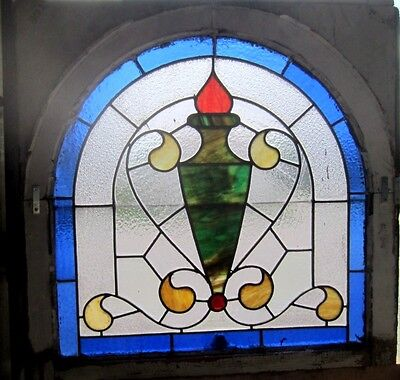 ~ Beautiful Antique American Stained Glass Window Arched Architectural Salvage ~