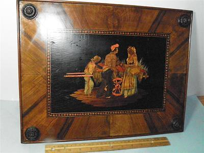 Antique Figural Italian Sorrento Hand Painted Inlay  Mixed Wood Plaque 16.5''