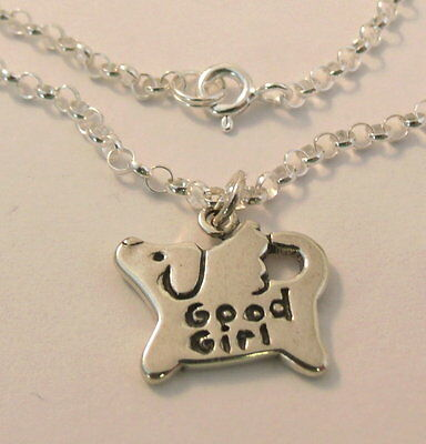 "Sterling Silver Necklace with Sterling ""GOOD GIRL"" Dog Angel Charm  0216"