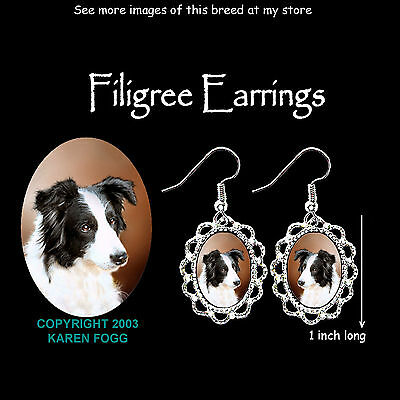 BORDER COLLIE DOG Black and White - SILVER FILIGREE EARRINGS Jewelry