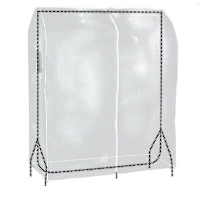 Clear Zipped Clothes Rail Cover Hanging Garment Storage Display 3ft Hangerworld