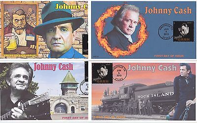 Jvc Cachets - 2013 Complete Set Of Four (4) Johnny Cash Song First Day Cover Fdc