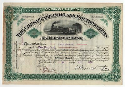 C.P. Huntington-Chesapeake Ohio & Southwestern Railroad Stock Certificate