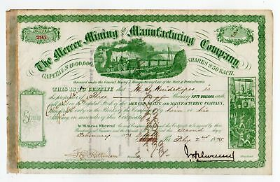 J. H. Devereux - Mercer Mining & Manufacturing Co Stock Certificate