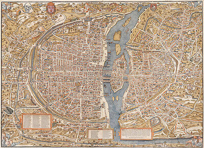 LARGE VINTAGE historic PARIS FRANCE 1550 OLD STYLE wall MAP home decor fine art