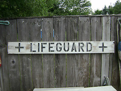 48 Inch Wood Hand Painted Lifeguard Sign Nautical Seafood (#s205)