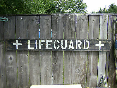 48 Inch Wood Hand Painted Lifeguard Sign Nautical Seafood (#s208)