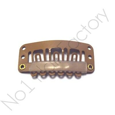 10 x Salon Grade Hair Extension Snap Clips for Wig Weft 32mm /3.2cm Tanned Brown