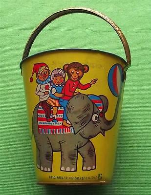 c1950  Tinplate Seaside Sand Pail Bucket with Circus Elephant and Hedgehog