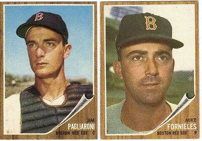 LOT OF 4 DIFFERENT HIGH GRADE 1962 TOPPS BASEBALL BOSTON RED SOX CARDS