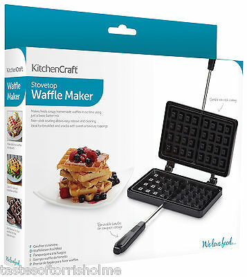 Kitchen Craft Non Stick Home Made Toasted Waffle Maker Stove Top Griddle Iron
