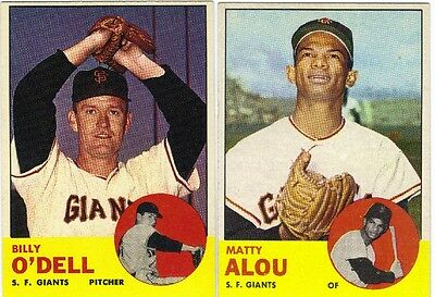 LOT OF 7 DIFFERENT HIGH GRADE 1963 TOPPS BASEBALL SAN FRANCISCO GIANTS CARDS
