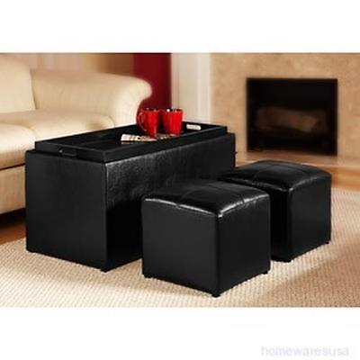 Sheridan Faux Leather Storage Bench Coffee Table 2 Side Ottomans PICK COLOR NEW!