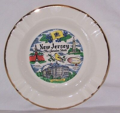 Vintage USA 22K Gold Cream Ceramic New Jersey NJ The Garden State Ashtray LARGE!