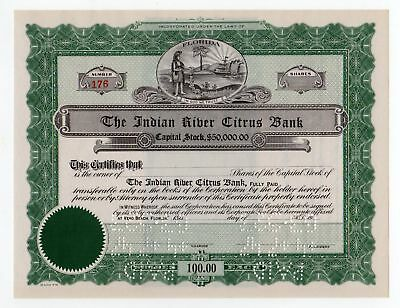 The Indian River Citrus Bank Stock Certificate