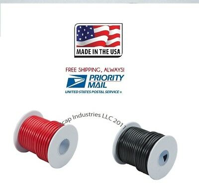 16 ga 100' FEET X 2 ROLLS PRIMARY WIRE RED AND BLACK INSULATED COPPER STRANDED
