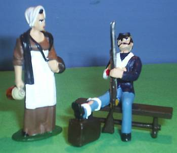 TOY SOLDIERS METAL CIVIL WAR MEDICAL NURSE & WOUNDED 54M