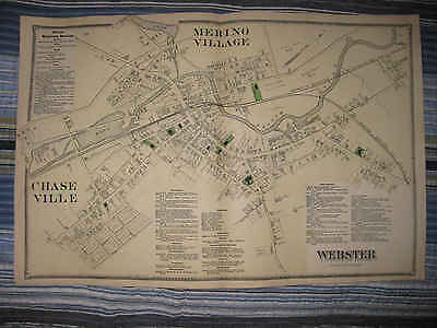 Antique 1870 Webster Merino Chaseville Worcester County Massachusetts Map Nr