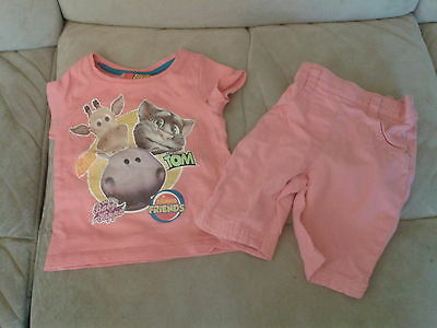Baby Girls 3-6 Months - Summer Outfit - Pink Trousers & T-Shirt, Animals - Next