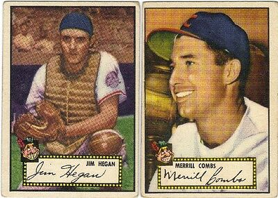 LOT OF 4 DIFFERENT 1952 TOPPS BASEBALL CLEVELAND INDIANS CARDS VG+ to VG/EX+