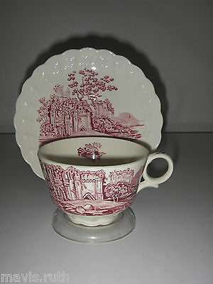 DINNERWARE Taylor Smith Taylor ENGLISH ABBEY Red Cup & Saucer