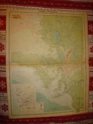 Huge Antique 1922 South Southern Australia Adelaide Times Atlas Map Detailed Nr