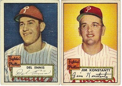 LOT OF 4 DIFFERENT 1952 TOPPS BASEBALL PHILADELPHIA PHILLIES CARDS VG+ to VG/EX+