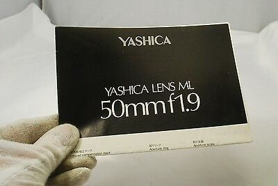 Yashica Lens ML 50mm f1.9 Instraction Manual 7217052