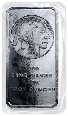 10 oz .999 Silver Bar American Indian Buffalo Design SKU28953