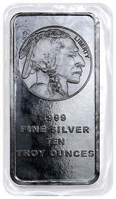Daily Deal 10 oz .999 Silver Bar American Indian Buffalo Design SKU28953