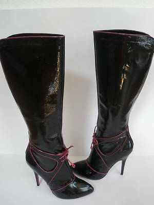 Betsey  JOHNSON KNEE HI BOOT black patent leather  8 NEW SEXY orig $1299