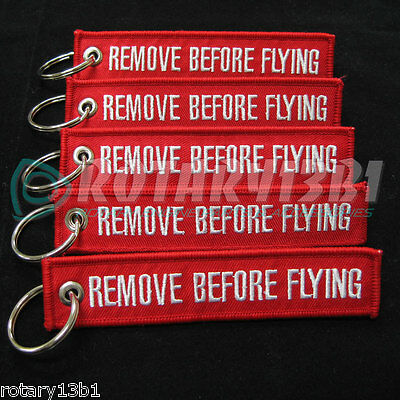 REMOVE BEFORE FLYING KEYCHAIN TAGS CREW PILOT QTY= 5 PIECES RED/White NEW