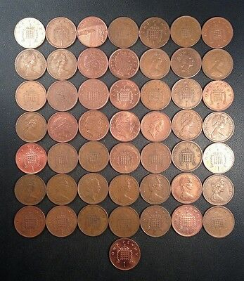 Old Great Britain Coin Lot - 50 One Pence! Unsearched - FREE SHIPPING