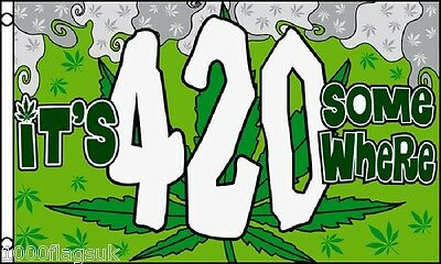 Rasta Rastafarian It's 4:20 420 Somewhere 5'x3' Flag !