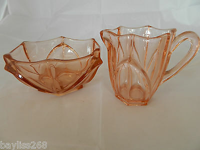 Lovely Art Deco Vintage Amber Colour Bowl and Jug Great Condition