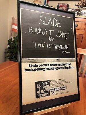 "1 BIG 11X17 FRAMED ORIGINAL SLADE LP ALBUM CD ""PROMO AD"" - choose from 7!"
