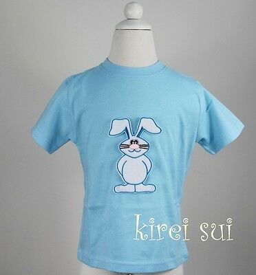 Boys Easter White Bunny Light Blue Short Sleeves Tee Top 3Mos-7Y